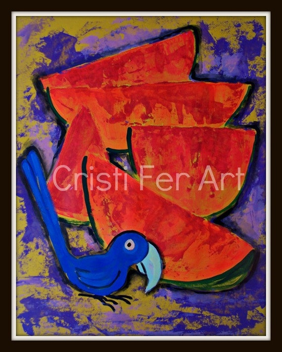Exotic parrot and watermelon fruit, abstract blue bird with red melon, home and office decor, children kids room art