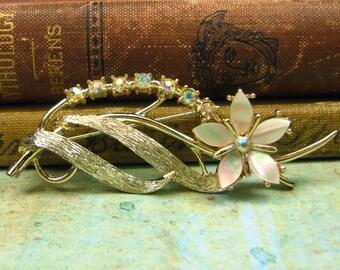 Vintage Rhinestone and Mother of Pearl Flower Brooch