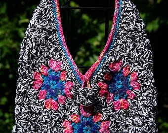 Retro Color Crochet Granny Square Bag- Blue & Pink Sequin Bling at Centers - Shoulder Strap Cotton