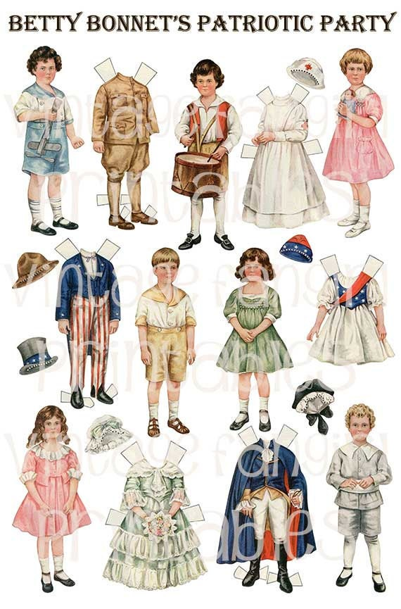 4th of July Betty Bonnet Vintage Paper Dolls from 1917 Digital Download