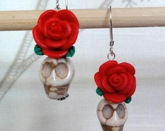 Dia de los Muertos Earrings - White Howlite Skull w/ Red Flower