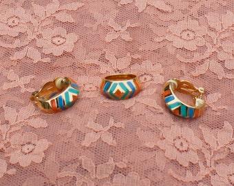 Vintage Signed Joseff Enameled set Ring and Earrings c1970s Turquoise, Blue and orange