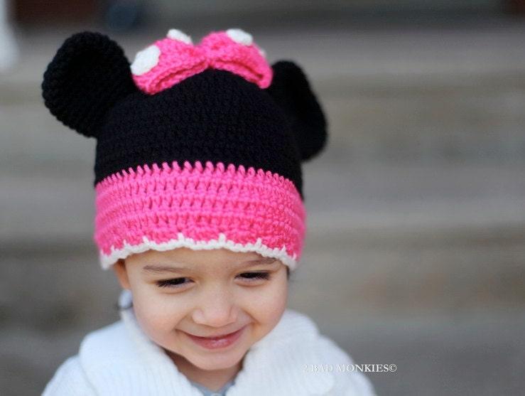 Minnie Mouse Crochet Hat Pattern Child : Minnie Mouse Hat Toddler Minnie Mouse Hat Girls Winter Hat