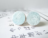 Pastel Blue Ear Studs, Pastel, Small Earrings, Snow, Winter Colors, Japanese Chiyogami Paper - PrettyKiku