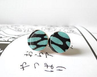 Turquoise Earrings, Ear Studs, Ovals, Japanese Chiyogami Paper, Most popular design, Gift for her