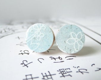 Pastel Blue Ear Studs, Pastel, Small Earrings, Snow, Winter Colors, Japanese Chiyogami Paper