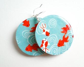 Turquoise earrings, Blue Earrings, Goldfish lucky Koi,Japanese Paper, MADE TO ORDER, Gift under 20, decoupage earrings
