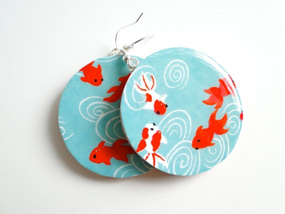 Turquoise earrings, Blue Earrings, Goldfish lucky Koi,Japanese Paper, MADE TO ORDER, Gift under 20, decoupage earrings