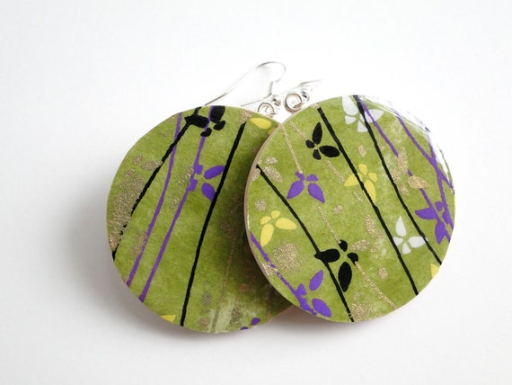 Green Earrings, Butterfly earrings, Japanese Paper, Chiyogami, Large Dangles, gift under 20, made to order,