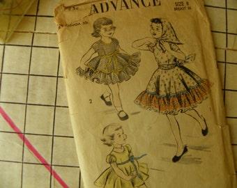 Twirl a whirl  Little Girls Dress Pattern 1950s Advance 6187