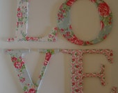 LOVE letters. Decoupage with Cath Kidston paper. Shabby chic.