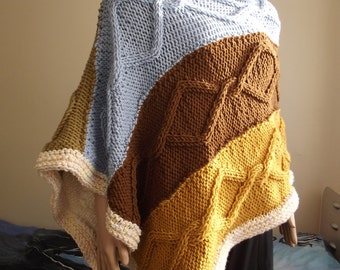 Diamond Chains - Hand Knitted PONCHO / CABLE Knit Poncho / Multi Color Poncho / Two Sided Poncho / Bateau Neck / Thick Poncho / Custom Order