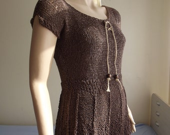 Chocolate Beauty - Hand Knit Sweater / Hand Knit Top / Short Sleeve / Collar SLIT / Sleeve Slits / Wooden Beads / BELL Hem / 50% OFF !!!