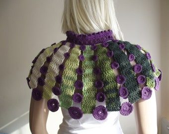 DOTTED CAPELET - Crochet Capelet / Dotted Shawl / Capelet with Dots / Crochet Drawstring / Dotted Drawstring / Multi Color / 50% OFF !!!
