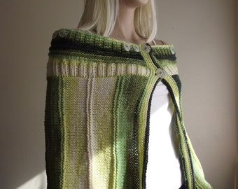 Green Love - Hand Knit Sweater / Hand Knit SHAWL / Hand Knit Tunic / Hand Knit CAPE / Removable Straps / Versatile Item / 50% OFF !!!