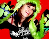 Lime Green Monster Animal Hood with Multi-Colored Zebra Stripe Fleece Lining