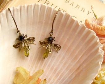 Firefly Earrings in Olive Green Czech Glass with Brass Ear Wires