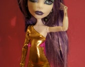 Monster High clothes hot  golden party dress with black lace leggings