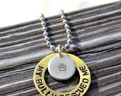 My Bully Rescued Me Handstamped Necklace