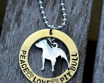 Peace Love Pit Bull Handstamped Necklace