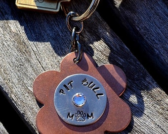 Pit Bull Mom Handstamped Keychain