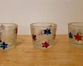 Tea Light Candle Holders, Decoupage Collage Flowers, Set of Three, Red, Blue, Purple