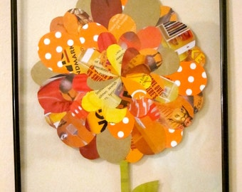 Magazine Paper Flower Collage, 8x10 Framed, Orange