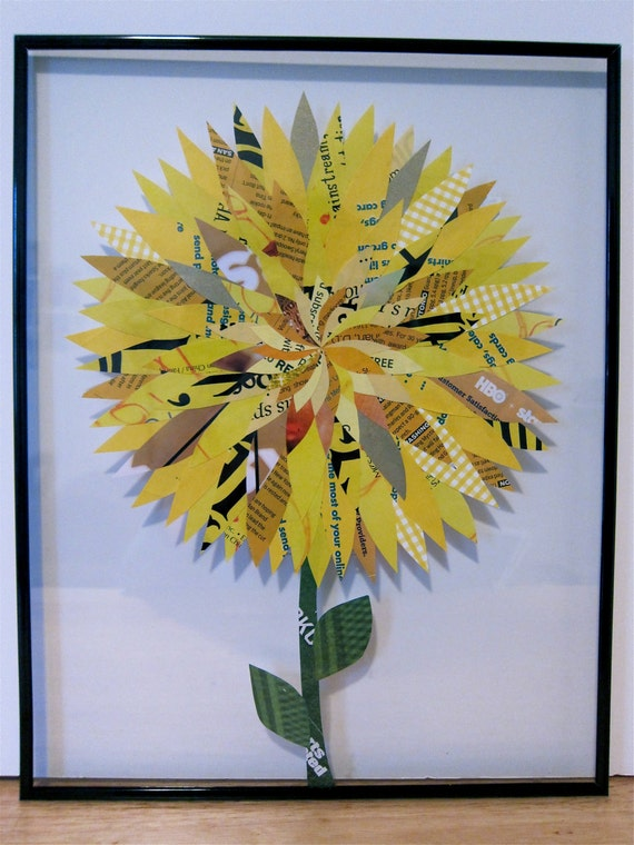 Paper Flower Collage, Yellow Dahlia 11x14 Frame