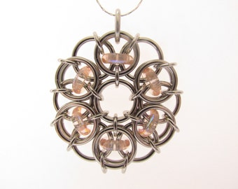 Chain Maille Pendant, Glass Pendant, Pink Pendant, Rose Glass Jewelry, Pink Jewelry