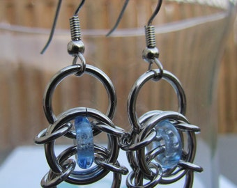 Chain Maille Earrings, Blue Earrings, Light Blue Glass and Stainless Steel Earrings, Jump Ring Jewelry