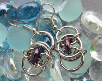 Chain Maille Earrings, Purple Bronze Glass Earrings, Glass Jewelry, Jump Ring Jewelry