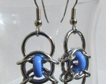 Chain Maille Earrings, Glass Jewelry, Blue Earrings, Handmade Earrings, Blue Glass Earrings