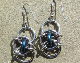 Handmade Chain Maille Earrings, Glass Jewelry, Iris Blue Earrings, Blue Glass Earrings