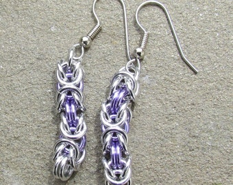 Chain Maille Earrings, Byzantine Earrings, Lavender Purple Earrings, Jump Ring Jewelry, Purple Jewelry
