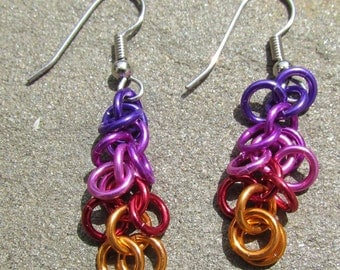 Chain Maille Earrings, Multicolor Jewelry, Shaggy Loops Earrings, Lightweight Earrings, Jump Ring Jewelry