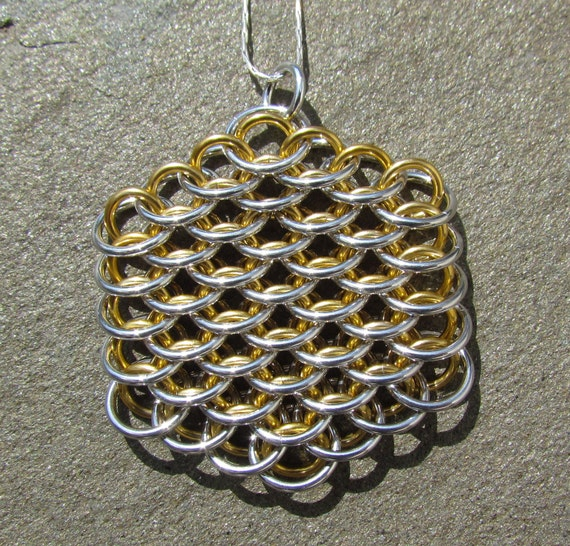 Chain Maille Pendant, Dragonscale Pendant, Gold Colored and Bright Aluminum Jump Ring Jewelry