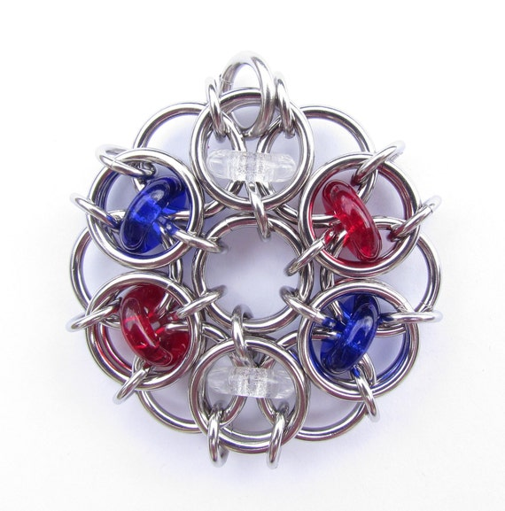 Chain Maille Pendant, Multicolor Pendant, Patriotic Pendant, Glass Pendant, American Jewelry