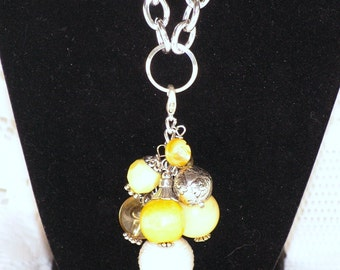 Charms California Dreaming - Chunky Bead Necklace Charm Cluster, Bead Necklace, Beaded Charm Necklace, Charm Necklace, Beaded Necklace