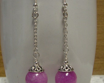 Purple Jade Earrings - Purple Earrings, Gemstone Earrings, Dangle Earrings, Beaded Earrings