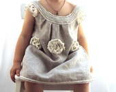 """crocheted /sew  organic linen baby/ toddler/girl  flower dress/tunic with lacy edge """"White peonies"""""""