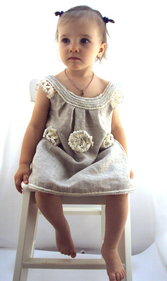 "crocheted /sew  organic linen baby/ toddler/girl  flower dress/tunic with lacy edge ""White peonies"""