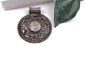 Bead destash antiqued silvertone  pendant with shell cabochon 66mm 6mm bail