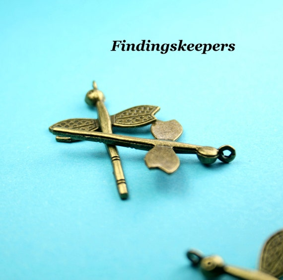 4 Dragonfly Charms Antique Bronze Tone Metal 38 x 25 mm - bz 062-1