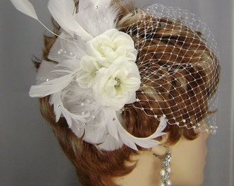 White Bridal Set, 3 Rose Comb , 9 Inch  Pearl Bandeau, Bridal Veil Set