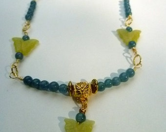 Aqua Blue Hemimorphite Necklace with Green Jade Butterflies