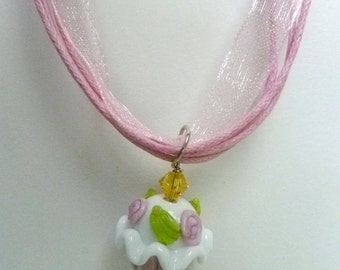 Pink and White Cupcake Charm Necklace