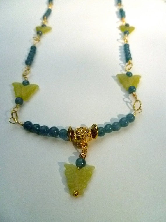 Aqua Blue Hemimorphite Necklace with Green Jade Butterflies