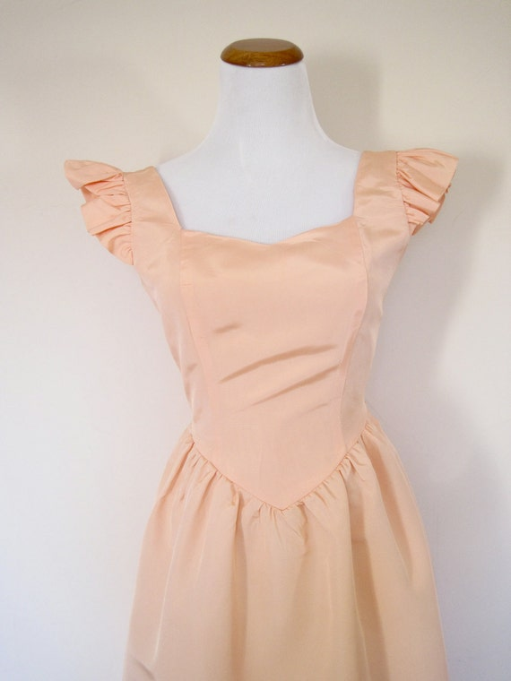 80's Vintage Prom Dress, Peach Taffeta Bow Dress