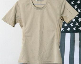 s a l e / / / Sporty Light Tan Stretchy Shirt with Mesh Details / / / s a l e