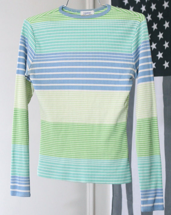 s a l e / / / 90s Esprit Cool-Tone Pastel Striped Ribbed Long Sleeved Shirt / / / s a l e